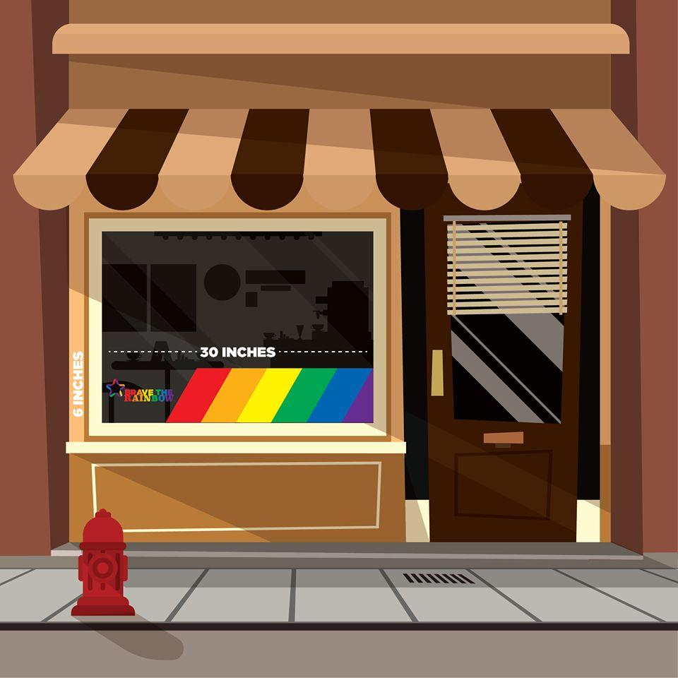 Illustration of store front with Brave the Rainbow cling